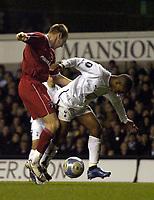 Photo: Olly Greenwood.<br />Tottenham Hotspur v Dinamo Bucuresti. UEFA Cup. 14/12/2006. Spurs Jermain Defoe and Dinamo's Dorin Mihut