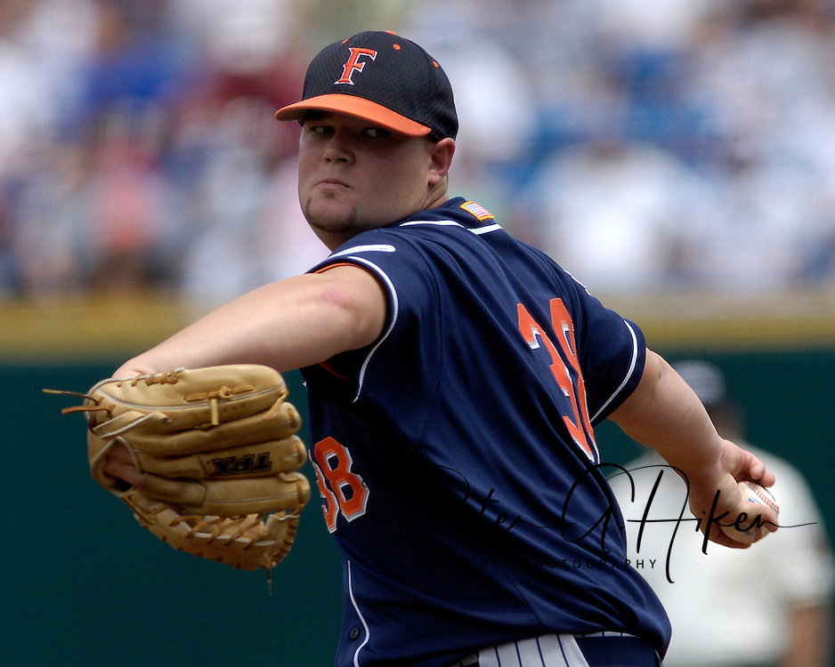 Cal State Fullerton starting pitcher Dustin Miller during game action against Georgia Tech.  Cal State Fullerton eliminated Georgia Tech with a 7-5 win at the College World Series at Rosenblatt Stadium in Omaha, Nebraska, June 18, 2006.