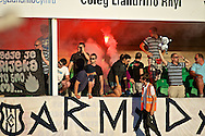 Picture by Ian Wadkins/Focus Images Ltd +44 7877 568959<br /> 25/07/2013<br /> Fans of FC Rijeka celebrate after going 3-0 up during the second leg of the UEFA Europa League round two qualifying match at Belle Vue Stadium, Rhyl.