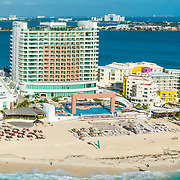 Aerial view of the Cancun Palace hotel.