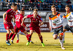 Zurga Tom of Triglav Kranj  and Crnov Ivan of Triglav Kranj  and Kryeziu Egzon of Triglav Kranj vs Kontek Ivan  of Aluminij and Martinovic Ilija  of Aluminij  during First League Telekom Slovenie Football match between Triglav Kranj vs Aluminij on the February 24. 2019, Kranj, Slovenia. Photo by Matic Ritonja / Sportida