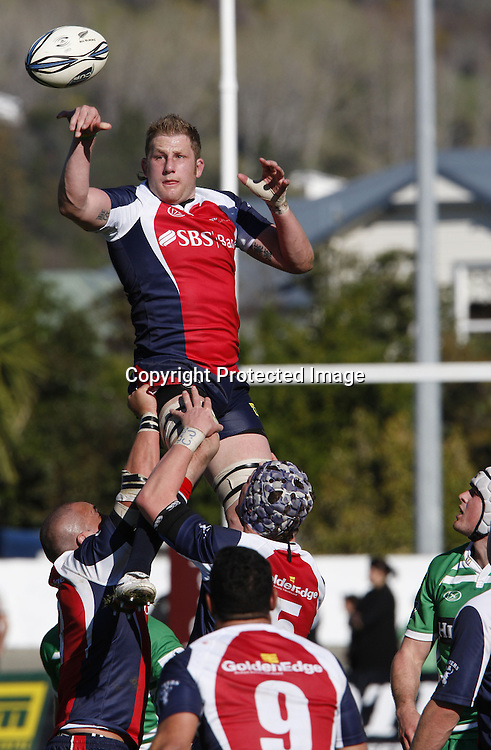 Tasman makos #8 Mark Bright serves lineout ball to his backs during the Air NZ Cup Rugby Union Match. Tasman v Manawatu, Trafalgar Park, Nelson, New Zealand. Saturday 5 September 2009. Photo: PHOTOSPORT