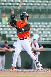 July 17, 2018 - Sarasota, FL, U.S. - Sarasota, FL - JUL 17: Ian Evans (26) of the Orioles at bat during the Gulf Coast League (GCL) game between the GCL Twins and the GCL Orioles on July 17, 2018, at Ed Smith Stadium in Sarasota, FL. (Photo by Cliff Welch/Icon Sportswire) (Credit Image: © Cliff Welch/Icon SMI via ZUMA Press)