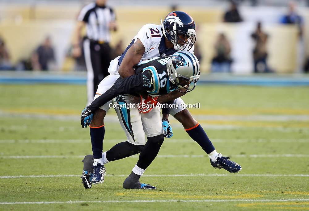 Denver Broncos cornerback Aqib Talib (21) appears to go for a ride on the back of Carolina Panthers wide receiver Corey Brown (10) after Brown catches a pass during the NFL Super Bowl 50 football game against the Carolina Panthers on Sunday, Feb. 7, 2016 in Santa Clara, Calif. The Broncos won the game 24-10. (©Paul Anthony Spinelli)