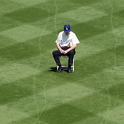 Dodger great and Hall of Famer Duke Snider waits in his old position, Center field during Opening day festivities before a baseball game between the San Francisco Giants and Los Angeles Dodgers March 31. 2008 at Dodger Stadium in Los Angeles. (SGVN/Staff Photo Keith Birmingham/SXSports)