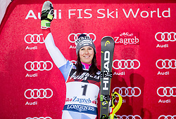 "Second placed Wendy Holdener (SUI) celebrates at Trophy ceremony after 2nd Run of FIS Alpine Ski World Cup 2017/18 Ladies' Slalom race named ""Snow Queen Trophy 2018"", on January 3, 2018 in Course Crveni Spust at Sljeme hill, Zagreb, Croatia. Photo by Vid Ponikvar / Sportida"