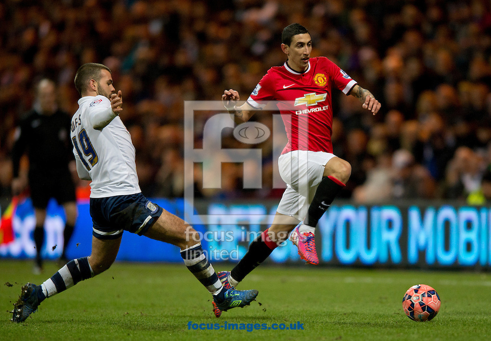 Angel Di Maria of Manchester United (right) skips past John Welsh of Preston North End during the FA Cup match at Deepdale, Preston<br /> Picture by Russell Hart/Focus Images Ltd 07791 688 420<br /> 16/02/2015