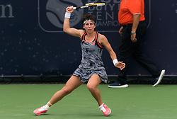 February 19, 2019 - Dubai, ARAB EMIRATES - Carla Suarez Navarro of Spain in action during her second-round match at the 2019 Dubai Duty Free Tennis Championships WTA Premier 5 tennis tournament (Credit Image: © AFP7 via ZUMA Wire)