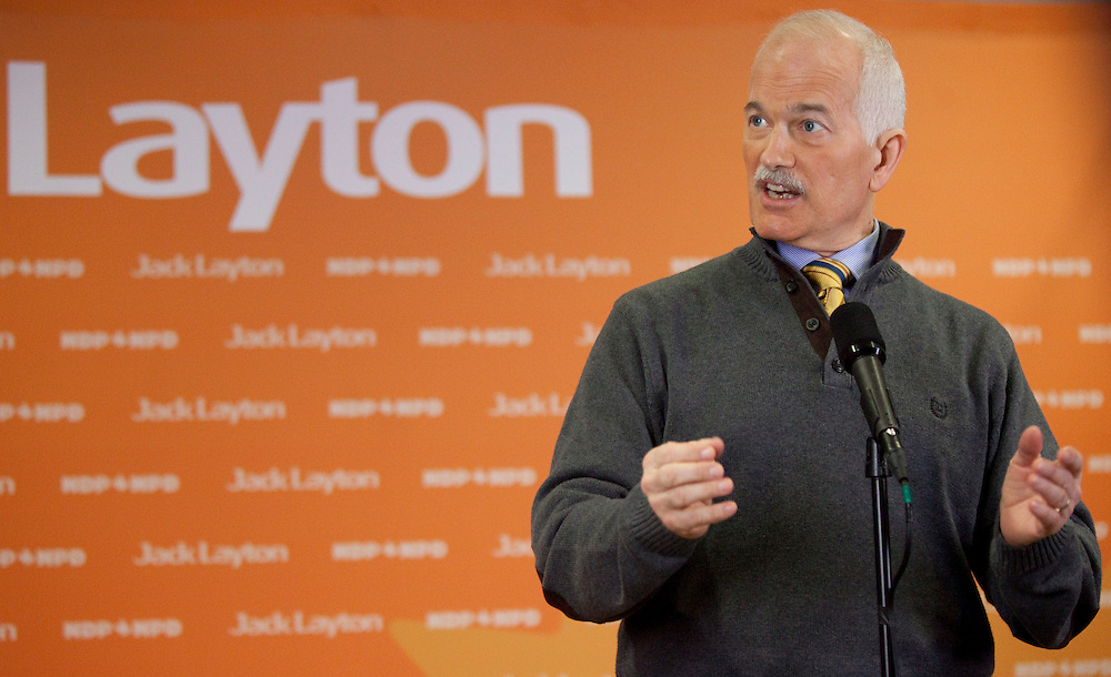 London, ONT.; April 4, 2011--  NDP leader Jack Layton speaks the media at a campaign stop in London, Ontario, April 4, 2011.<br /> <br /> (GEOFF ROBINS/ Postmedia News)