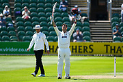 Record breaking 100 for Marcus Trescothick - Marcus Trescothick of Somerset celebrates scoring a century which is his 50th for Somerset breaking the club record during the Specsavers County Champ Div 1 match between Somerset County Cricket Club and Warwickshire County Cricket Club at the Cooper Associates County Ground, Taunton, United Kingdom on 22 May 2017. Photo by Graham Hunt.