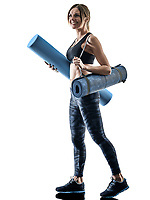 one caucasian woman exercising pilates fitness accessories exercises isolated  silhouette on white background