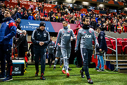 Henrikh Mkhitaryan and Chris Smalling of Manchester United come out for the warmup - Rogan/JMP - 20/12/2017 - Ashton Gate Stadium - Bristol, England - Bristol City v Manchester United - Carabao Cup Quarter Final.