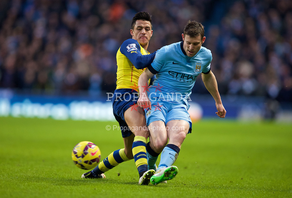 MANCHESTER, ENGLAND - Sunday, January 18, 2015: Manchester City's James Milner in action against Arsenal's Alexis Sanchez during the Premier League match at the City of Manchester Stadium. (Pic by David Rawcliffe/Propaganda)