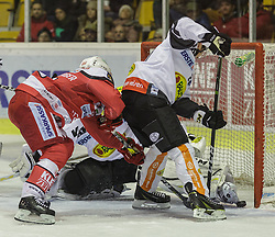 20.11.2016, Stadthalle, Klagenfurt, AUT, EBEL, EC KAC vs Dornbirner Eishockey Club, 21. Runde Grunddurchgang, im Bild Johannes Bischofberger (EC KAC ,#46), Brian Conally (Dornbirner Eishockey Club, #20), Florian Hardy (Dornbirner Eishockey Club, #49)// during the Erste Bank Eishockey League 21st match at preliminary round betweeen EC KAC vs Dornbirner Eishockey Club at the City Hall in Klagenfurt, Austria on 2016/11/20. EXPA Pictures © 2016, PhotoCredit: EXPA/ Gert Steinthaler