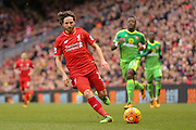 Liverpool midfielder Joe Allen  during the Barclays Premier League match between Liverpool and Sunderland at Anfield, Liverpool, England on 6 February 2016. Photo by Simon Davies.