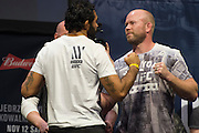 Rafael Natal and Tim Boetsch face off during the UFC 205 weigh-ins at Madison Square Garden in New York, New York on November 11, 2016.  (Cooper Neill for The Players Tribune)