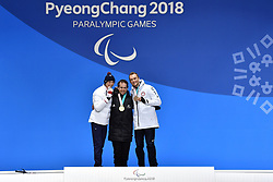BAUCHET_Arthur, HALL Adam, STANTON Jamie,  ParaSkiAlpin, Para Alpine Skiing, Slalom, Podium during the PyeongChang2018 Winter Paralympic Games, South Korea.