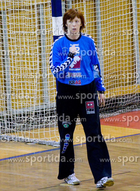 Goalkeeper of Krim Mercator  Sergeja Stefanisin at first finals handball match of Slovenian Women National Championships between RK Olimpija and RK Krim Mercator, on May 16, 2009, in Arena Tivoli, Ljubljana, Slovenia. Olimpija won after 10 years vs Krim Mercator 30:28. (Photo by Vid Ponikvar / Sportida)