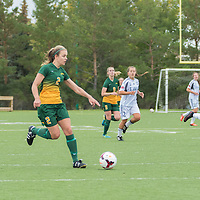 2nd year forward Kirsten Finley (2) of the Regina Cougars advances up field during the Women's Soccer home game on September 11 at U of R Field. Credit: Arthur Ward/Arthur Images