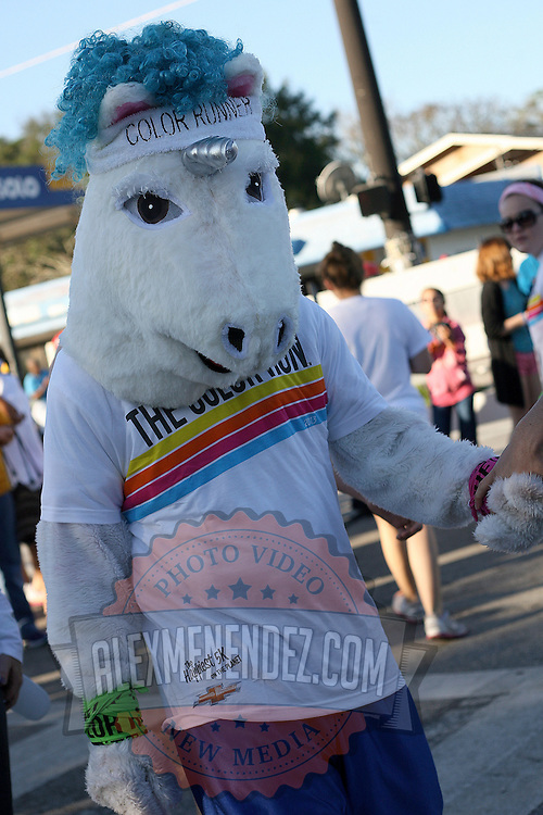 """A unicorn serves as a mascot of the Color Run Orlando, and is seen prior to the event.  Billed as the """"Happiest 5K on the Planet,? the Color Run is a family-friendly run for those who don't mind getting dust thrown at them after beginning the race with a plain white t-shirt on. This is the first event of the season and occured at the Citrus Bowl in downtown Orlando, Florida on January 13, 2013. (AP Photo/Alex Menendez)"""