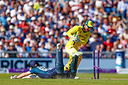 England ODI wicket keeper Jos Butler is well in, although the umpires choose to review it, during the 5th One Day International match between England and Australia at Old Trafford, Manchester, England on 24 June 2018. Picture by Simon Davies.