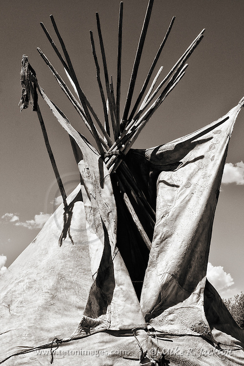 Detail section of a tipi at a Mountain Man Rendezvous in southern Wyoming.