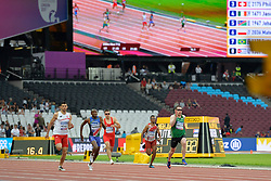 18/07/2017 : Jason Smyth (IRL), Mateusz Michalski (POL), Johannes Nambala (NAM), Philipp Handler (SUI), Mohamed Khatabou (MAR), T13, Men's 200m, at the 2017 World Para Athletics Championships, Olympic Stadium, London, United Kingdom