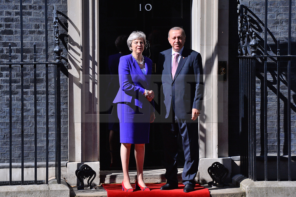 &copy; Licensed to London News Pictures. 15/05/2018. London, UK. President of Turkey Recep TAYYIP ERDOGAN meets BritIsh Prime Minister THERESA MAY at No.10 Downing St during a three day visit to the UK.<br /> Photo credit: Ray Tang/LNP