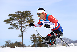 Korea's Sin Eui Hyun competes in the Men's 7.5km, Sitting Cross Country Skiing, at the Alpensia Biathlon Centre during day eight of the PyeongChang 2018 Winter Paralympics in South Korea