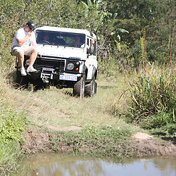 THURSDAY 13TH MAY 2010 / DURBAN SOUTH AFRICA<br /> Keegan Daniel  driving with John Smit sitting on the front of a Land Rover<br /> during the Sharks  off road for the Land rover Experience