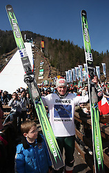 Janne Ahonen of Finland says goodbye when he finished his ski jumping career after second series of team event of FIS Ski jumping World Cup finals in Planica, Slovenia.  Team event of FIS Ski jumping World cup were held in Planica, Slovenia, on K215 ski flying hill on March 15, 2008. (Photo by Vid Ponikvar / Sportal Images)./ Sportida)