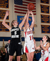 Sahara Brown and Kaitlin Slippy go up for a rebound during the Prospect Mountain versus Moultonboro game of the Holiday Basketball Tournament at  Gilford High School Tuesday evening.   (Karen Bobotas/for the Laconia Daily Sun)