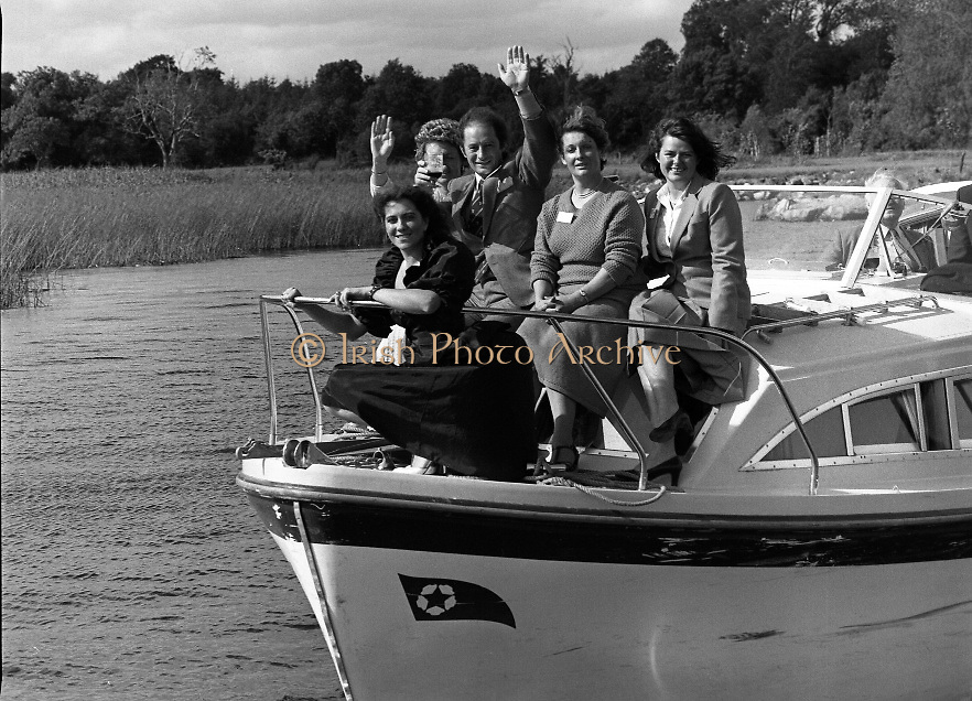 Galway Oyster Festival..1982.09.09.1982.09.09.1982.9th September 1982..Image of cruise on the Shannon..The Festival was held on the banks of the Shannon at Portumna Co.,Galway..It was held in the picturesque new marina. The event was sponsored by Guinness. Emerald Star line were also represented..Nice way to end the day, A cruise on the Shannon aboard the Emerald Star Cruiser.