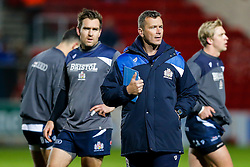 Bristol Rugby First Team Coach Sean Holley looks on during the warm up - Mandatory byline: Rogan Thomson/JMP - 11/12/2015 - RUGBY UNION - Ashton Gate Stadium - Bristol, England - Bristol Rugby v Bedford Blues - B&I Cup.