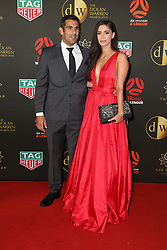 Players from the Westfield W-League and Hyundai A-League arrive on the red carpet for the 2018 Dolan Warren Awards at The Star Event Centre - 80 Pyrmont St, Pyrmont, NSW. 30 Apr 2018 Pictured: Brisbane Roar FC's Jamie Young and Kimberley Bowden. Photo credit: Richard Milnes / MEGA TheMegaAgency.com +1 888 505 6342