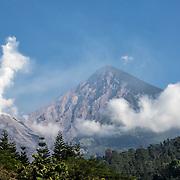 View of Santa María Volcano from the village of El Palmar.