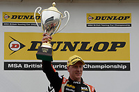 #33 Adam Morgan Ciceley Motorsport Mercedes-Benz A-Class during BTCC Race 1 Podium as part of the Dunlop MSA British Touring Car Championship - Rockingham 2018 at Rockingham, Corby, Northamptonshire, United Kingdom. August 12 2018. World Copyright Peter Taylor/PSP. Copy of publication required for printed pictures.
