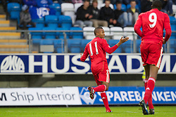 MOLDE, NORWAY - Wednesday, September 7, 2011: Liverpool's Toni Brito De Silva celebrates scoring the first goal against Molde during the second NextGen Series Group 2 match at Aker Stadion. (Photo by Vegard Grott/Propaganda)