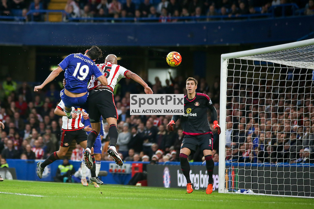 Diego costa heads at goal During Chelsea vs Sunderland on Saturday the 19th December 2015.