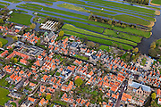 Nederland, Noord-Holland, Graft-De Rijp, 16-04-2012; De Rijp, Rechtestraat  overgaand in Westeinde, verkaveling van de Eilandspolder.View on the old town of De Rijp with church  in the polder Beemster. Land division of the Eilandspolder (meadows, top right)..luchtfoto (toeslag), aerial photo (additional fee required).foto/photo Siebe Swart