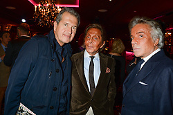 Left to right,  MARIO TESTINO, VALENTINO GARAVANI and GIANCARLO GIAMMETTI at a party to celebrate the publication of 'Passion for Life' by Joan Collins held at No41 The Westbury Hotel, Mayfair, London on21st October 2013.