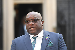 St Kitts and Nevis Timothy Harris talks to the waiting media in Downing Street after the meeting with Prime Minister Theresa May in relation to the Windrush generation immigration controversy.