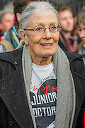 Vanessa Redgrave was one of the speakers - Doctors leave the picket line at St Thomas' Hospital to march to the DoH in Whitehall. Junior Doctors stage a 7 day all out strike action, this time imncluding accident and emergency coverage. They are striking against the new contracts due to be imposed by the Governemnt and health minister Jeremy Hunt. They are supported by the British Medical Association.