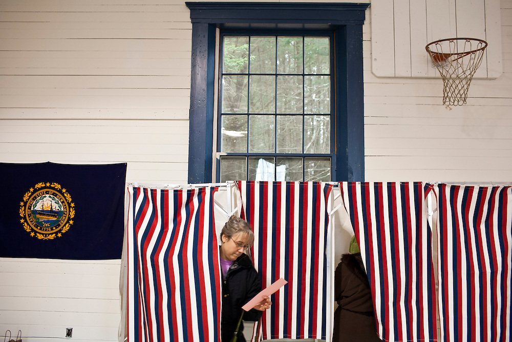 Voters cast ballots at the town hall on Tuesday, January 10, 2012 in Danbury, NH. Brendan Hoffman for the New York Times