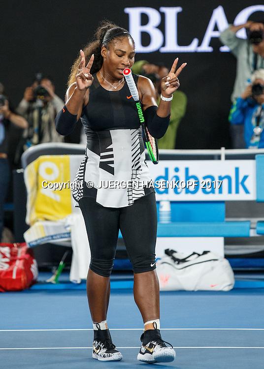 SERENA WILLIAMS (USA)  jubelt ,Sieg,Freude,Jubel,<br /> <br /> Australian Open 2017 -  Melbourne  Park - Melbourne - Victoria - Australia  - 28/01/2017.