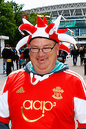 A Sholing fan wearing a Southampton FC shirt before the FA Vase match at Wembley Stadium, London<br /> Picture by David Horn/Focus Images Ltd +44 7545 970036<br /> 10/05/2014