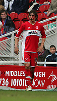 Photo: Andrew Unwin.<br /> Middlesbrough v Bolton Wanderers. The Barclays Premiership. 26/03/2006.<br /> Blood drips from the face of Middlesbrough's Emanuel Pogatetz.