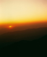 Silhouette of Santa Monica Mountains at sunset