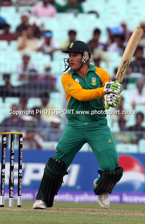 South African batsman Morne van Wyk plays a shot against Ireland during the ICC Cricket World Cup - 34th Match, Group B South Africa vs Ireland Played at Eden Gardens, Kolkata, 15 March 2011 - day/night
