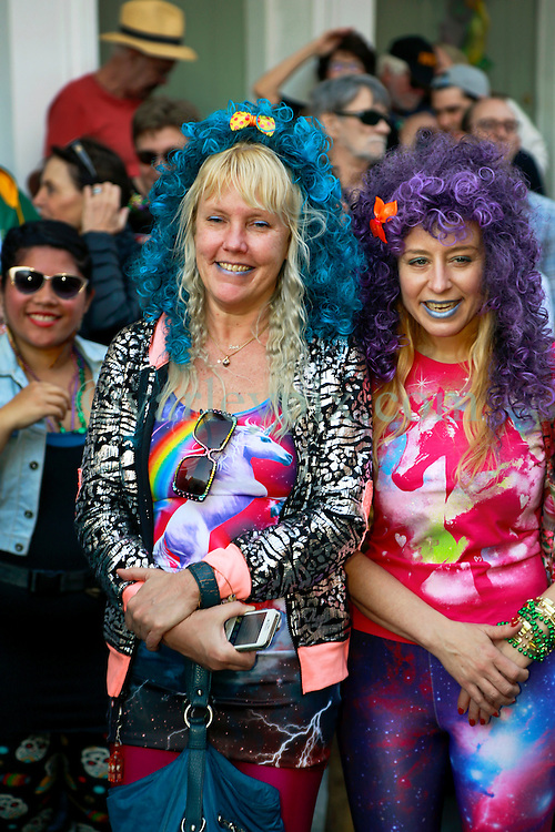 08 Feb 2015. New Orleans, Louisiana.<br /> Mardi Gras. Faces in the crowd. The Mystic Krewe of Barkus takes to the streets of the French Quarter with the theme 'Bark Wars: Return of the K-9.' Barkus is the only officially licensed Mardi Gras krewe by and for canines. <br /> Photo; Charlie Varley/varleypix.com